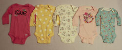 Gerber Baby Girland039s 5-pack Long Sleeve One Piece Variety Set Jb1 Multi Size 0-3m
