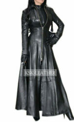Womens Real Leather Long Dress Black Gown Leather Mistress Suit Gothic Coat