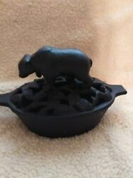 Vintage Cast Iron Bear Wood Stove Humidifier W/lid