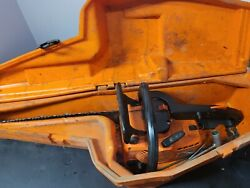 Vintage Stihl 010 Av Chainsaw With Case. Pulls Roughly As-is