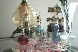 Six Pieces Vintage Egyptian Perfume Hand Blown And Hand Painted Glass Bottles