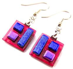 Dichroic Glass Earrings Red Sapphire Teal Blue Pink Squares Dangle Surgical 1/2