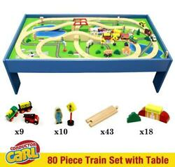 Conductor Carl 80pc Wooden Train Tracks And Vehicles Complete Set With City Table