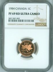 1984 Canada 1 Cent Penny Proof Ngc Pf 69 Ultra Cameo Red Quality✔️