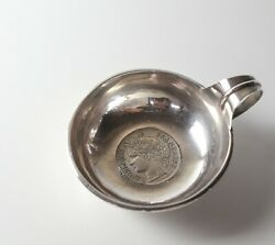 French Coin Mounted Sterling Silver Tastevin Wine Tasting Cup 1850 5 Franc