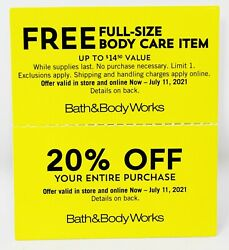 Bath And Body Works Coupon Coupons 20 Off + Complimentary Full Size Body Exp 7/11