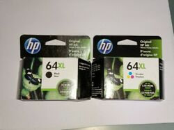 New Genuine Hp 64xl Black And Tricolor Combo Ink Cartridges Exp 2021, + 2 Used