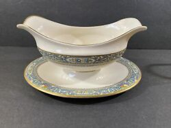 Lenox Autumn Gold Mark Gravy Sauce Boat With Attached Under Tray
