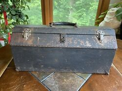 Antique Metal Eagle Lock Co Tool Box Chest W Socket Tray Leather Handle Rare