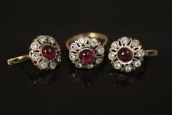 Russian Vintage 583 K - 14 K Gold And Natural Diamonds Lab Created Ruby Set