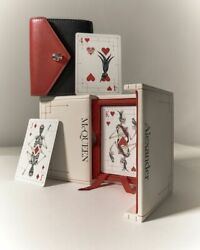 Nib Alexander Mcqueen Double Pack Playing Cards In Leather Covered Logo Case Box