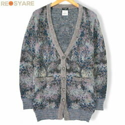 P50012 Coco Mark Button Moheya Mixed Multi Colored Knit Cardigan 34 42027