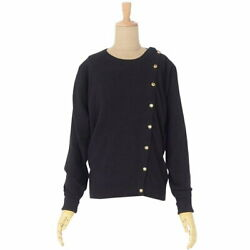 Vintage Coco Mark Button Pure Cashmere Knit Cardigan Sweater Tops