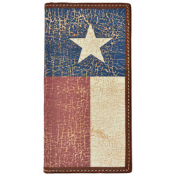 C-w844 7 1/4 X 3 1/2 3d Brown Western Rodeo Wallet W/ Texas Flag Inlay