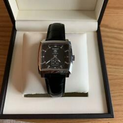 Tag Heuer Monaco Ww2110.fc6177 Black Square Ss Date 37mm Automatic Watch Used