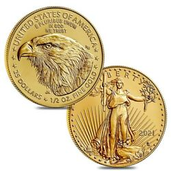 Lot Of 2 - 2021 1/2 Oz Gold American Eagle 25 Coin Bu Type 2