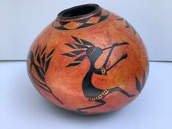 Large Kokopelli Gourd Beautifully Carved And Painted Signed Ridge