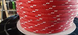 3/8 Andrdquo X 300 Ft. Double Braid-yacht Braid Polyester Rope Spool. Red/white