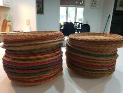 Lot Of 32 Vintage Woven Bamboo Wicker 9.5 Paper Plate Holders