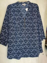 Woman's Plus 2x Jaclyn Smith Navy Shirt With Tags