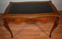 1910s Antique French Louis Xv Walnut And Black Leather Top / Bronze Writing Desk