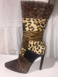 Jeffrey Campbell Paramore-f / Boots W/ Heel Reel Cow Hair Leopard Design Size 6