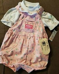 Vintage Oshkosh Shortall Set 6/9months Pink Floral Bibs And White Top Made In Usa