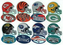 2000 Nfl Football Helmet Logo Stickers, Lot Of 8, Chiefs, Packers, Patriots More