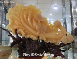 28 Natural Yellow Jade Hand Carved Butterfly Baicai Cabbage Money Screen Statue