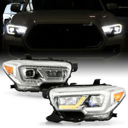 [dual Led Tube]amber+white Drl Projector Headlights For 2016-2021 Tacoma Sr Sr5