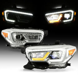 [dual Led Tube]amber+white Drl Projector Headlights For 2016-2021 Tacoma Trd