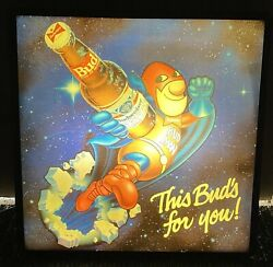 Vintage Budweiser Bud Man Budman In Motion Lighted Beer Sign This Bud's For You