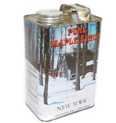 Vintage Half Gallon Tin Pure New York Maple Syrup Can Winter Cabin Graphics