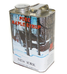 Vintage 64 Ounce Tin Pure New York Maple Syrup Can Winter Cabin Graphics