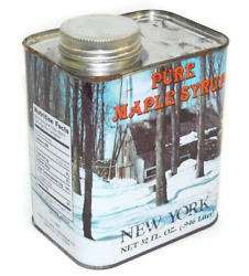 Vintage 32 Ounce Tin Pure New York Maple Syrup Can Winter Cabin Graphics