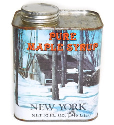 Vintage 32 Oz. Tin Pure New York Maple Syrup Can Winter Sap Harvesting Graphics