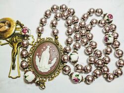 Beautiful Vatican Style Lavender Pearl Ceramic Queen Mary Benedict Locket Rosary