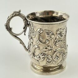 Fine Antique Solid Silver Rapousse Foliage Decorated Christening Mug Chinese