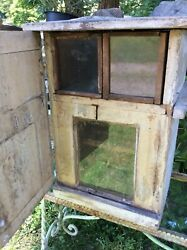 Antique Double Queen Bee Box Hive, 3 Orig Glass Viewing Areas, Square Nails