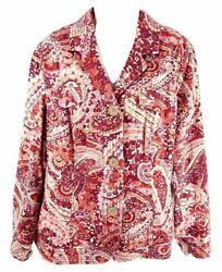 Coldwater Creek Size W18 Paisley Floral Cotton Jacket Button Down Pink Casual