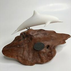 John Perry White Dolphin Porpoise Figurine Sculpture Mounted On Burl Wood Base