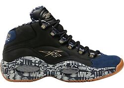 Size 9 Reebok Question Mid Iverson Classic Mens Fx4991 Black Navy Grey Shoes