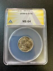 1936 D/d Buffalo Nickel Anacs Ms-64 - Uncirculated - Luster - Certified - 5c