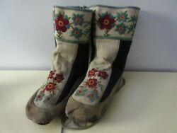 Vintage Aboriginal High Top Moccasins W Leather/material And Floral Embroidery.