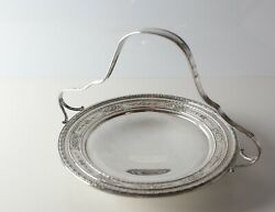 American Sterling Silver Pierced Basket Handle Tidbit Tray Hand Chased