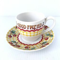 Mary Engelbreit Teacup Life Has No Blessing Like A Good Friend Cup And Saucer 8 Oz