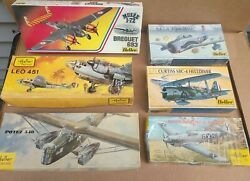 6 Heller Vintage Airplane Military Model Kits 1980s And 90s