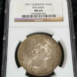 1851 German Bavarian Kingdom Large Silver Coin Ngc Ms64 Top Pop Fs From Japan