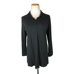 J. Jill Size Pm Stretch Black Button-up Knit Top Collared 3/4 Sleeves