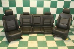 14-18 Gm Truck Crew Black And Carbon Fiber Leather Heated Bucket Seats Backseat
